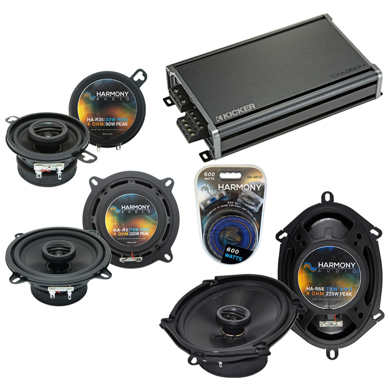 Compatible with Dodge Aries 1981-1983 Factory Speaker Replacement Harmony Speakers & CXA300.4 Amp