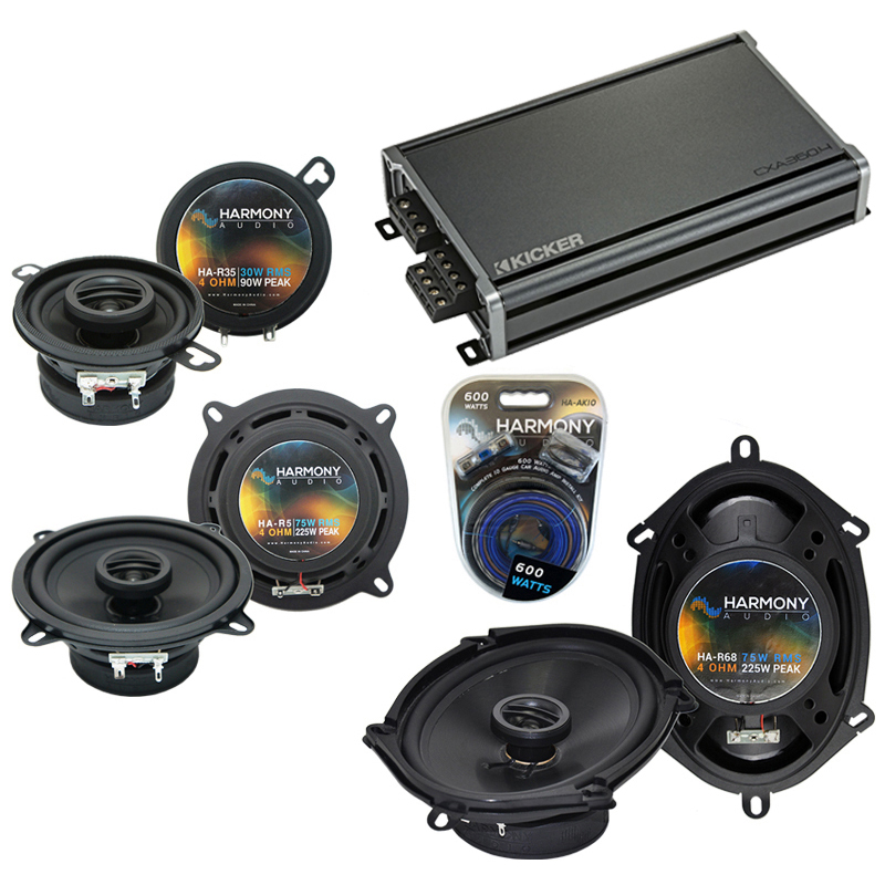 Compatible with Dodge Aries 1984-1989 Factory Speaker Replacement Harmony Speakers & CXA300.4 Amp