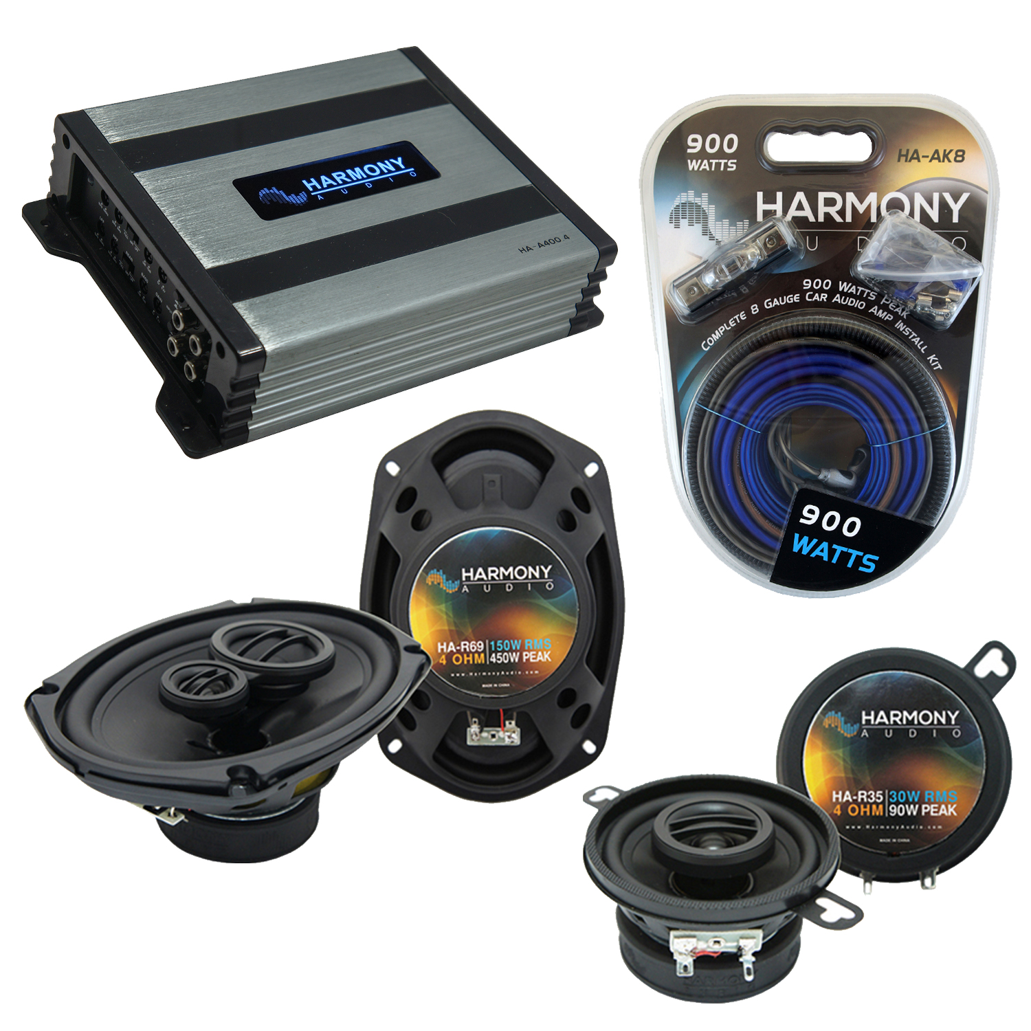 Compatible with Dodge Aspen 1976-1980 Factory Speaker Replacement Harmony R35 R69 & Harmony HA-A400.4 Amp