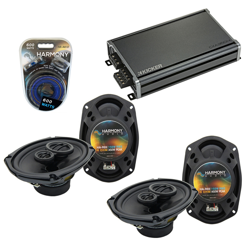Compatible with Dodge Caliber 2007-2012 Factory Speaker Replacement Harmony (2) R69 & CXA300.4 Amp