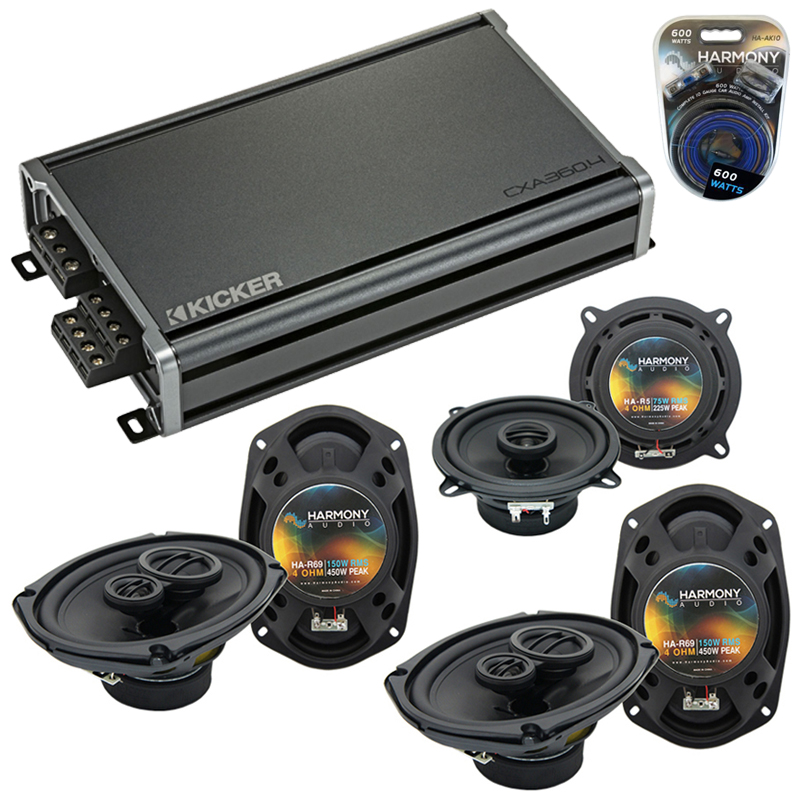 Compatible with Dodge Caravan 2002-2007 OEM Speaker Replacement Harmony (2)R69 R5 & CXA360.4 Amp