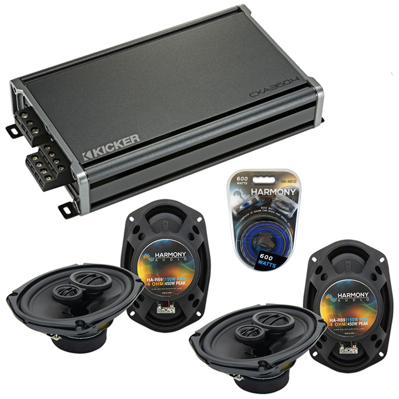 Compatible with Dodge Charger 2005-2010 Factory Speaker Replacement Harmony (2) R69 & CXA360.4 Amp