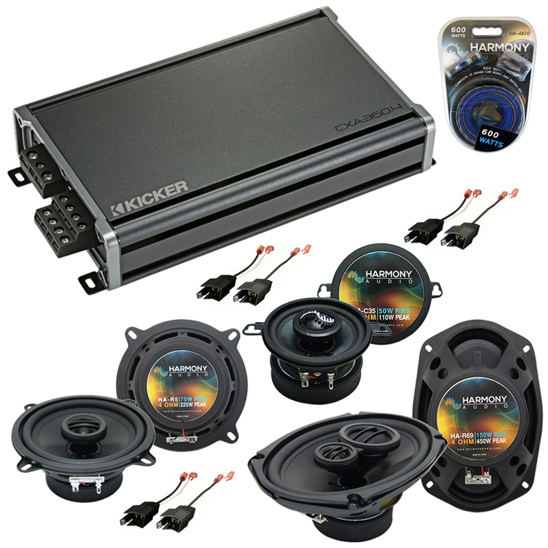 Compatible with Dodge Dynasty 1988-1993 Factory Speaker Replacement Harmony Speakers & CXA300.4 Amp