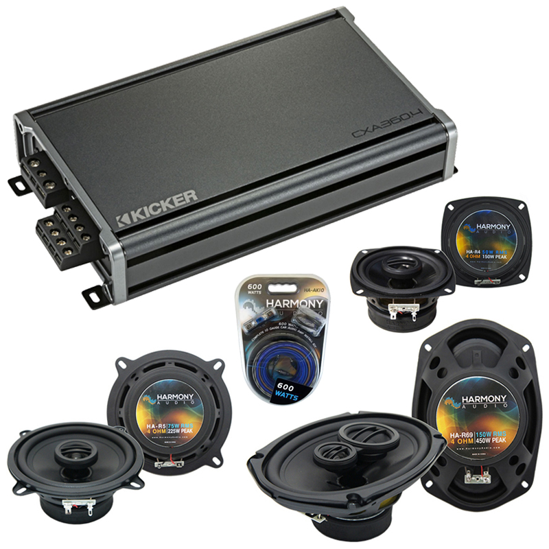 Compatible with Dodge Intrepid 1993-1997 Factory Speaker Replacement Harmony Speakers & CXA360.4 Amp