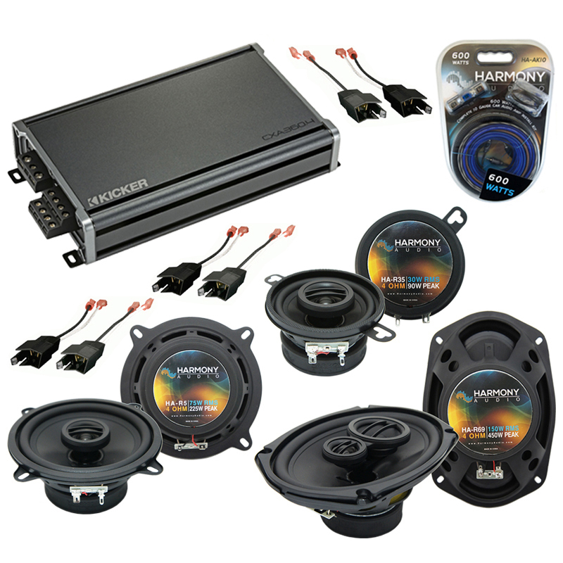 Compatible with Dodge Lancer 1986-1989 Factory Speaker Replacement Harmony Speakers & CXA360.4 Amp