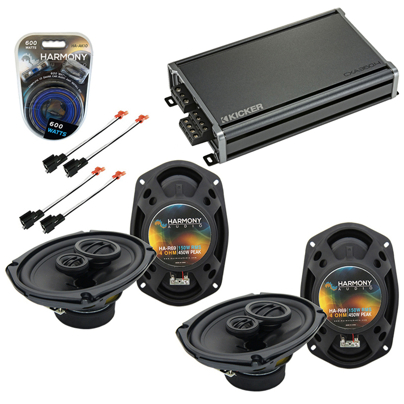 Compatible with Dodge Stratus 2001-2006 Factory Speaker Replacement Harmony (2) R69 & CXA360.4 Amp