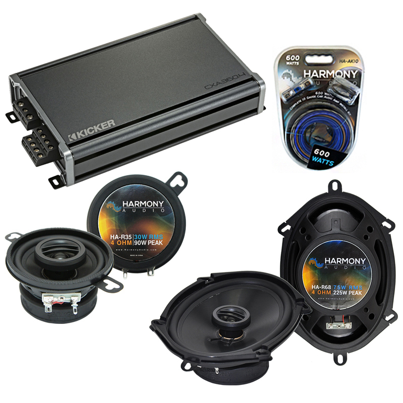 Compatible with Dodge Van (Full Size) 1984-1989 Speaker Replacement Harmony R68 R35 & CXA360.4 Amp