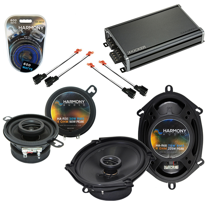 Compatible with Dodge Van (Full Size) 1990-1997 Speaker Replacement Harmony R68 R35 & CXA360.4 Amp