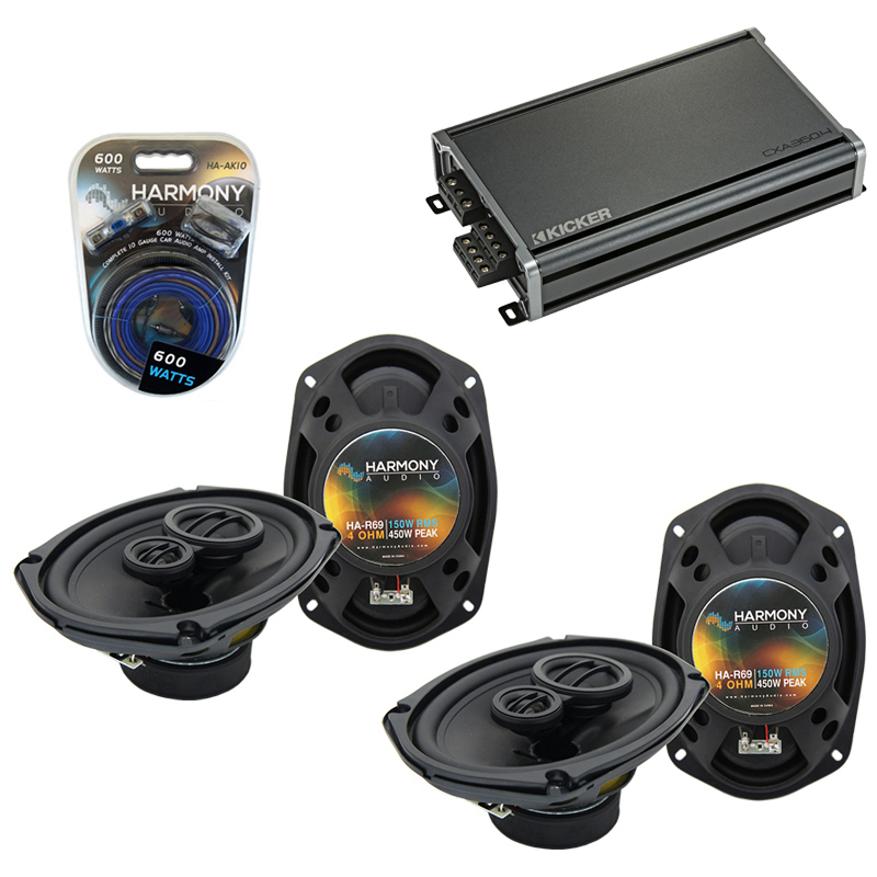 Compatible with Dodge Van (Full Size) 1998-2003 Speaker Replacement Harmony (2) R69 & CXA360.4 Amp