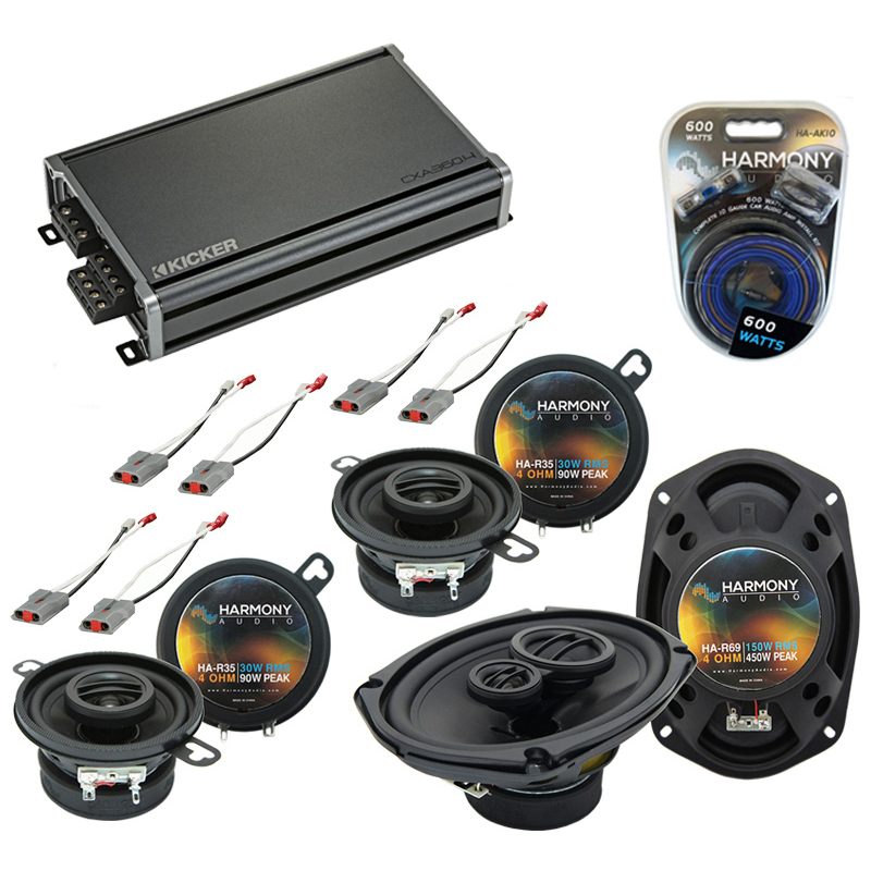 Compatible with Ford Aerostar 1986-1997 OEM Speaker Replacement Harmony (2)R35 R69 & CXA360.4 Amp