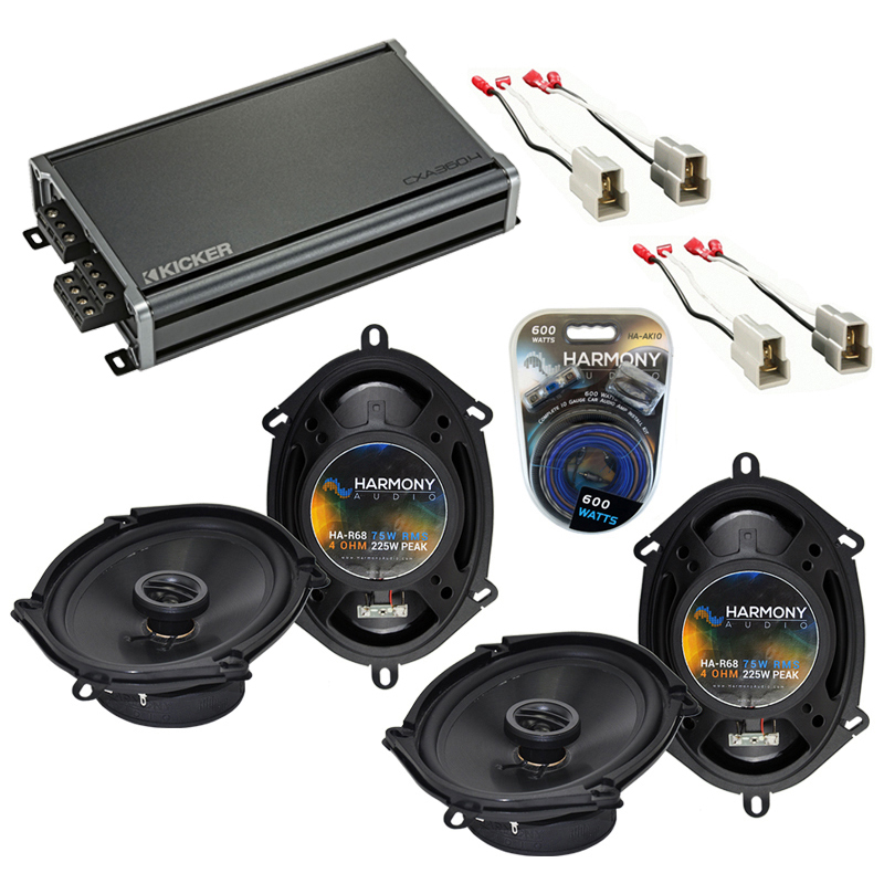 Compatible with Ford Contour 1995-2000 Factory Speaker Replacement Harmony (2) R68 & CXA360.4 Amp