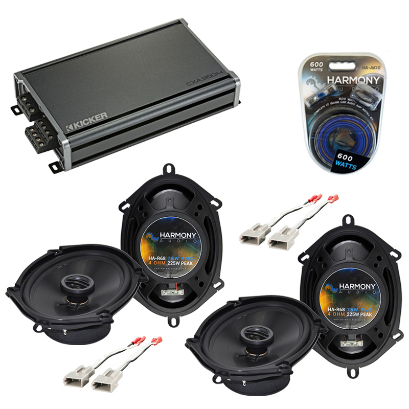 Compatible with Ford Econoline Full Size Van 92-96 Speaker Replacement Harmony (2)R68 & CXA360.4 Amp