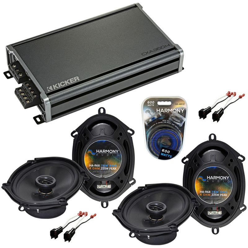 Compatible with Ford Edge 2007-2010 Factory Speaker Replacement Harmony (2) R68 & CXA300.4 Amp