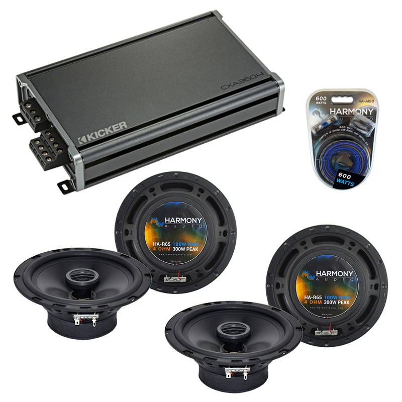 Compatible with Audi A6 1997-1999 Factory Speaker Replacement Harmony (2) R65 & CXA360.4 Amp