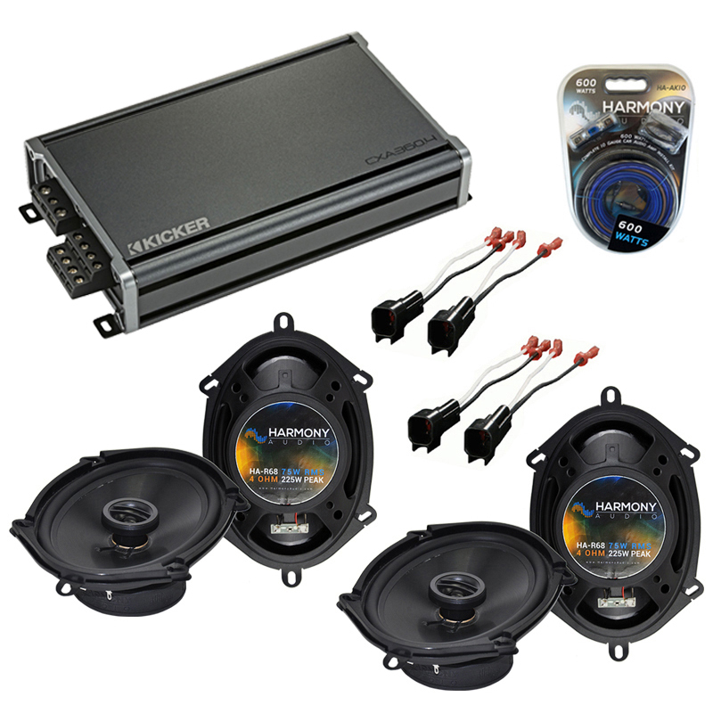 Compatible with Ford Focus 2000-2007 Factory Speaker Replacement Harmony (2) R68 & CXA360.4 Amp