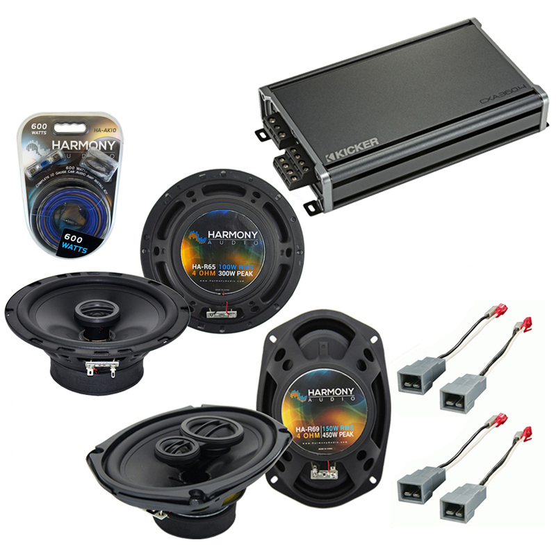Compatible with Ford F-Series Truck 1982-1986 OEM Speaker Replacement Harmony Speakers & CXA360.4 Amp