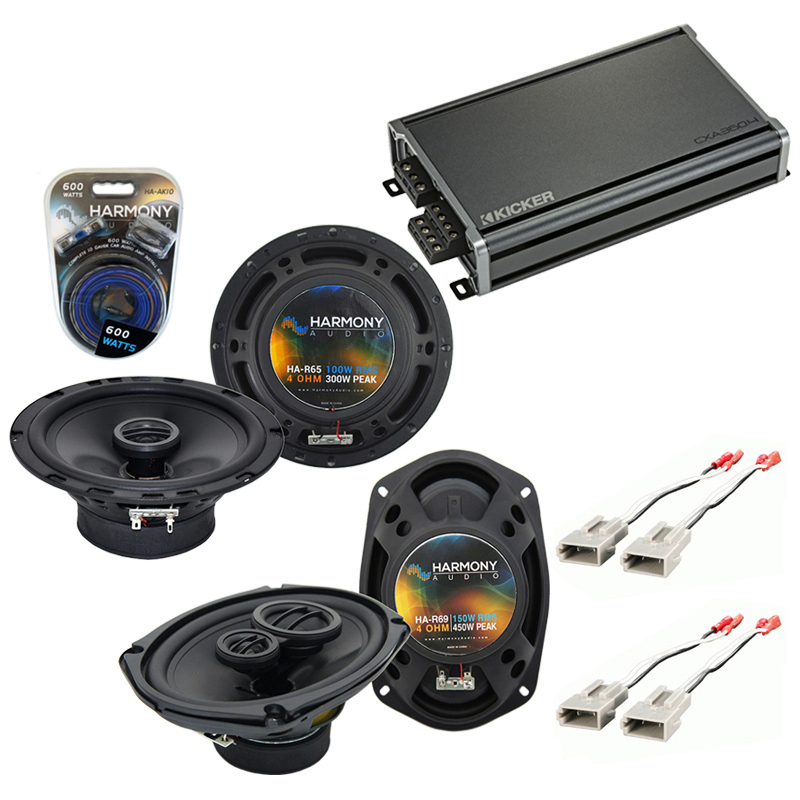 Compatible with Ford F-Series Truck 1987-1991 OEM Speaker Replacement Harmony Speakers & CXA300.4 Amp