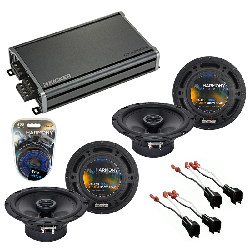 Compatible with Ford Fusion 2006-2009 Factory Speaker Replacement Harmony (2) R65 & CXA300.4 Amp
