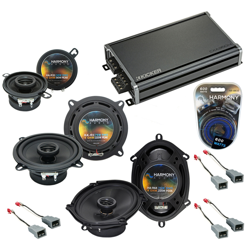 Compatible with Ford Mustang 1982-1985 Factory Speaker Replacement Harmony Speakers & CXA360.4 Amp