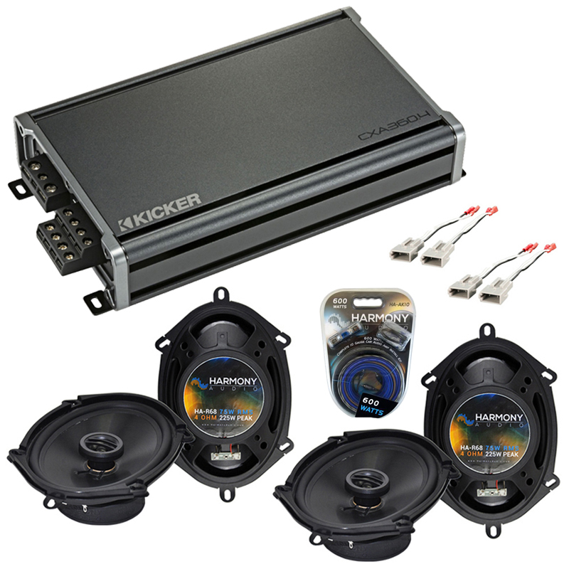 Compatible with Ford Mustang 1994-1998 Factory Speaker Replacement Harmony (2) R68 & CXA360.4 Amp