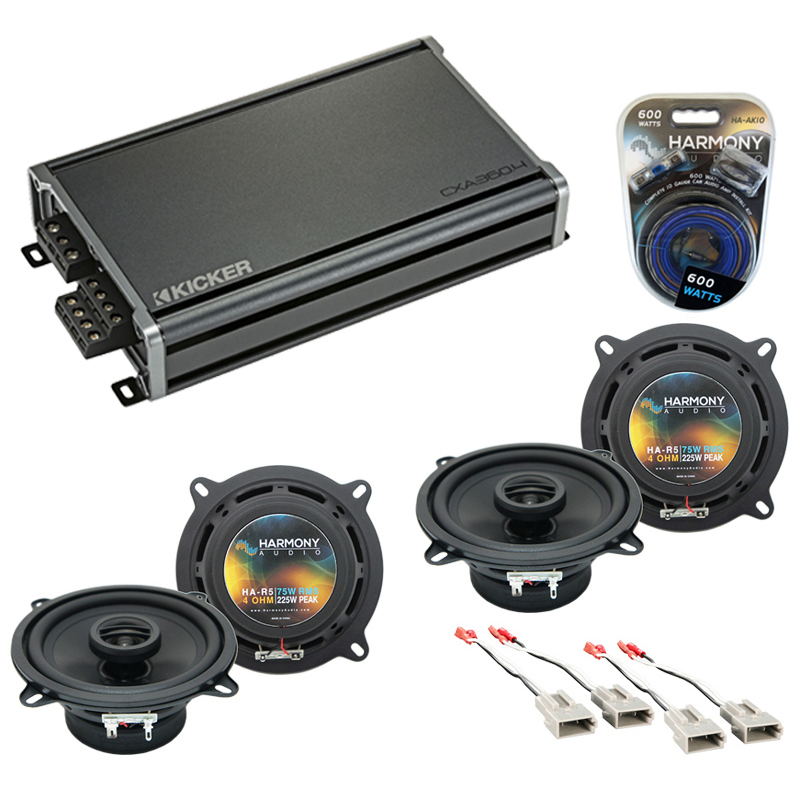 Compatible with Ford Ranger 1989-1993 Factory Speaker Replacement Harmony (2) R5 & CXA360.4 Amp