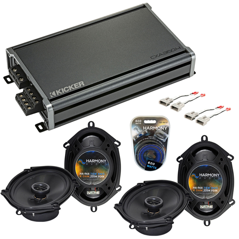 Compatible with Ford Ranger 1994-1997 Factory Speaker Replacement Harmony (2) R68 & CXA360.4 Amp