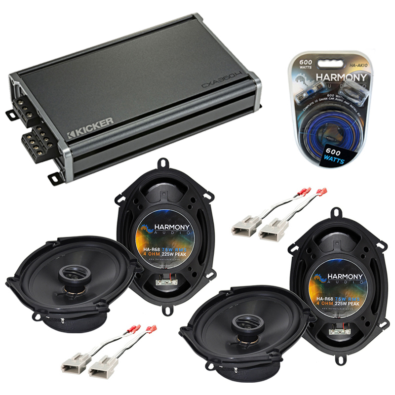 Compatible with Ford Thunderbird 1989-1997 OEM Speaker Replacement Harmony (2) R68 & CXA360.4 Amp