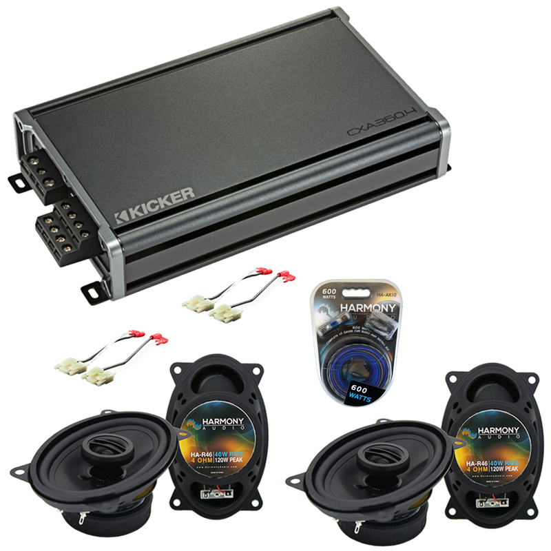 Compatible with GMC Sierra 1988-1994 Factory Speaker Replacement Harmony (2) R46 & CXA360.4 Amp