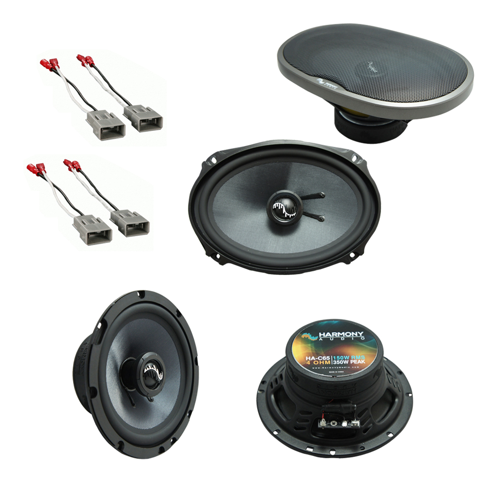 """Harmony Master Bundle Compatible with 1986-1997 Honda Accord HA-C65 6.5"""" Replacement 350W Speakers & Grills with HA-727800 Replacement Harness"""