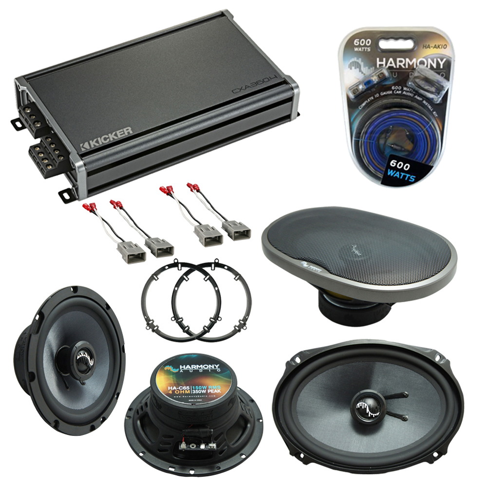 """Harmony Master Bundle Compatible with 1998-2002 Honda Accord HA-C65 6.5"""" Replacement 350W Speakers & Grills with HA-727800 Factory Speaker Replacement Harness, and 46CXA3604 720W Peak Speaker Amp"""