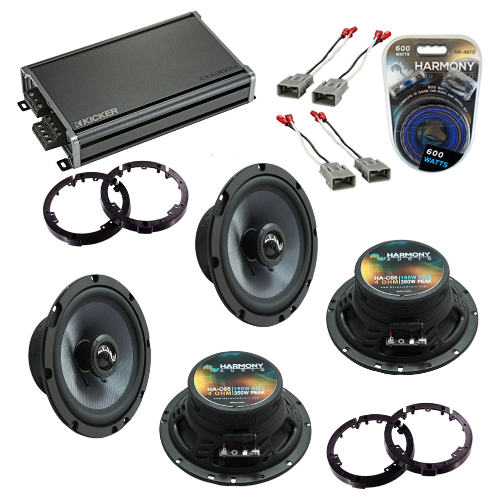 Harmony Audio Compatible With 2006-11 Honda Civic (2) HA-C65 New Premium Factory Speaker Replacement Upgrade Package With CXA360.4 Amplifier
