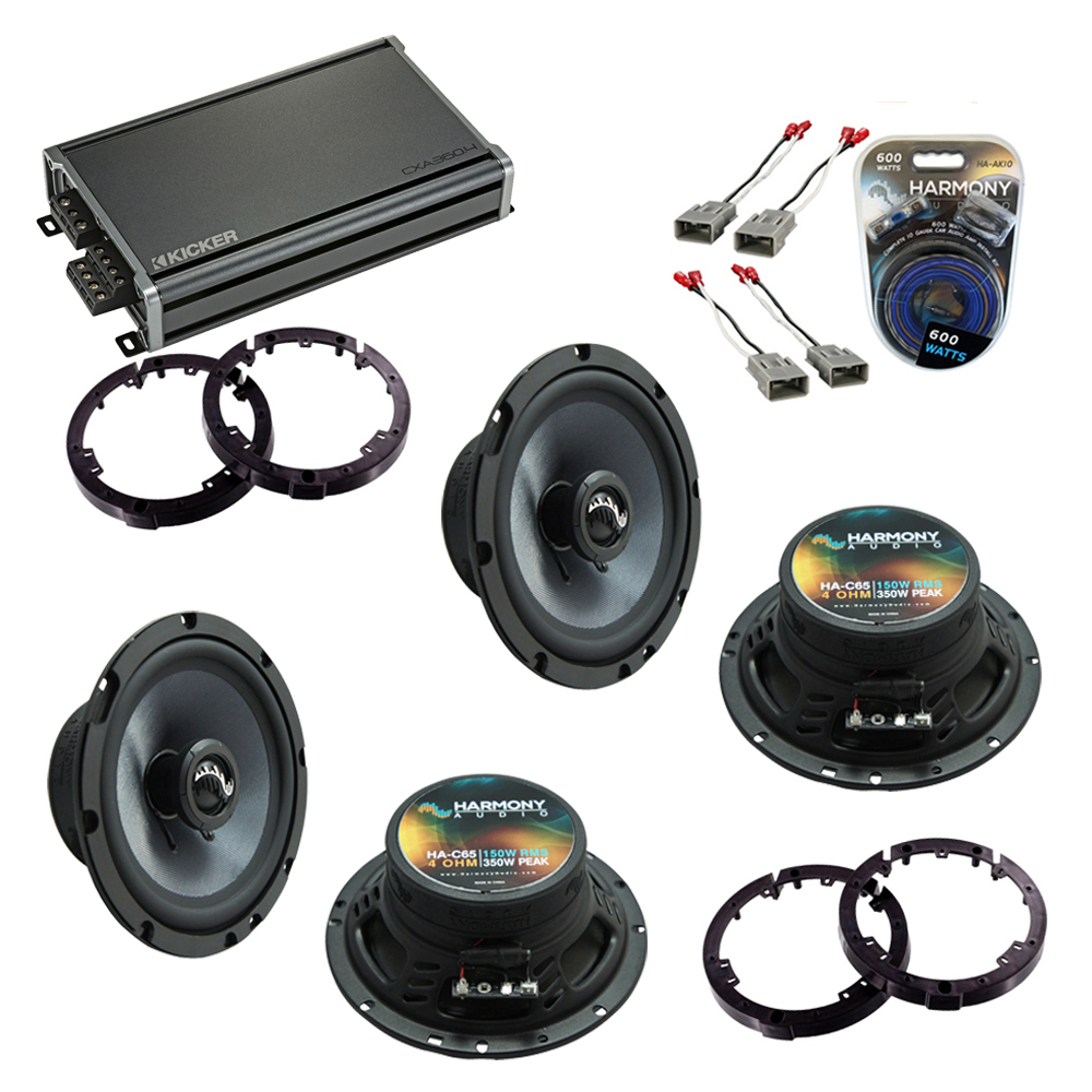 """Harmony Audio Compatible with 2001-2005 Honda Civic (2) HA-C65 6.5"""" New Premium Factory Speaker Replacement Upgrade Package With 46CXA3604 Amplifier And HA-AK10 10Ga Amp Install Kit"""