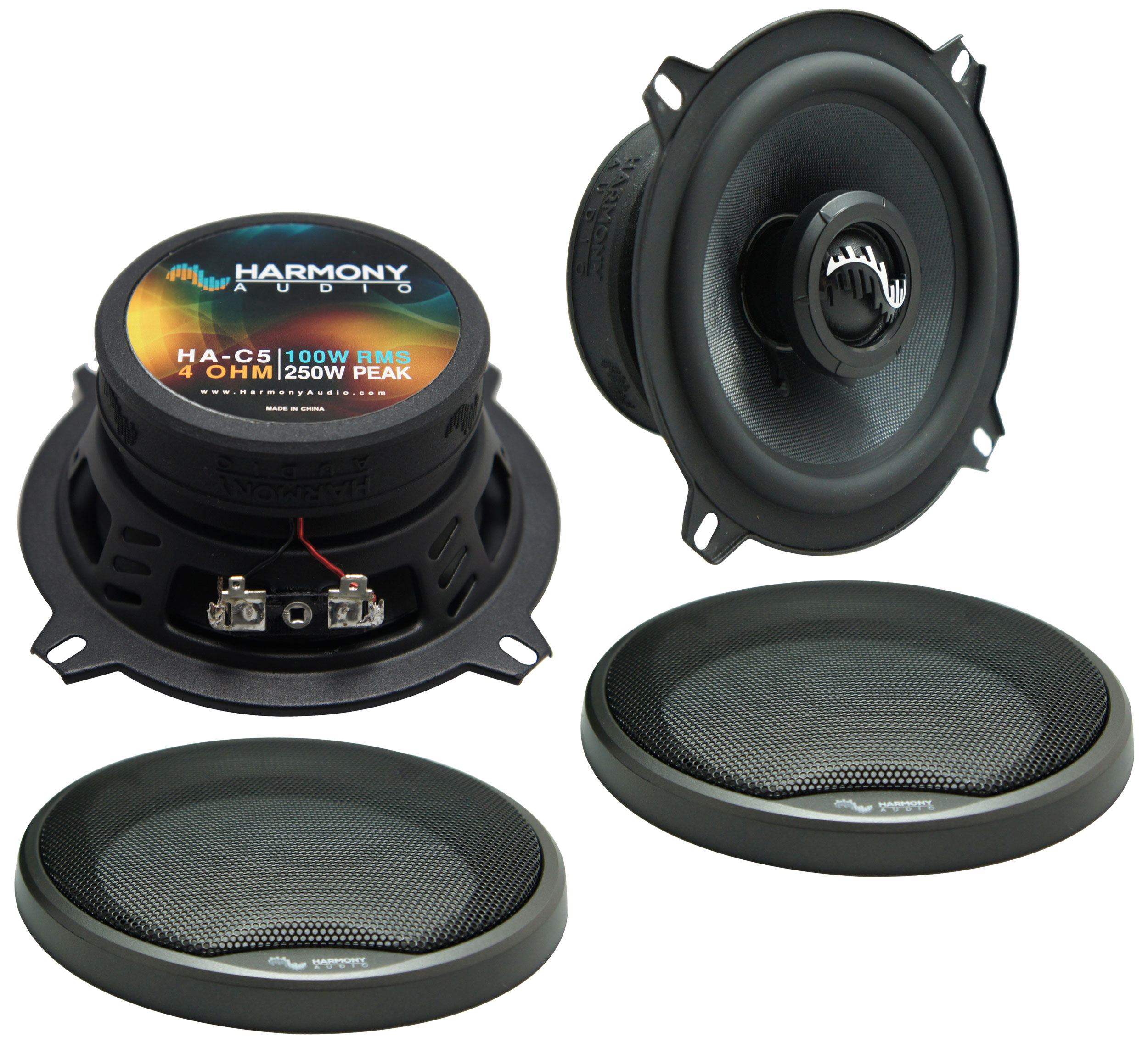 """Harmony Master Bundle Compatible with 1992-1995 Honda Civic HA-C5 5.25"""" Replacement 250W Speakers & Grills with HA-727800 Factory Speaker Replacement Harness"""