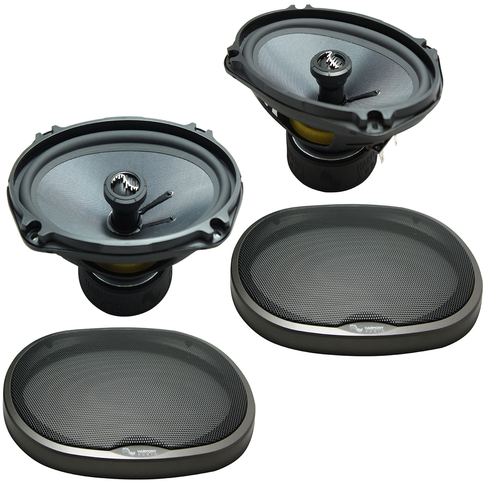 """Harmony Master Bundle Compatible with 1996-2000 Honda Civic HA-C69 6x9"""" Replacement 500W Speakers & Grills with HA-727800 Factory Speaker Replacement Harness"""
