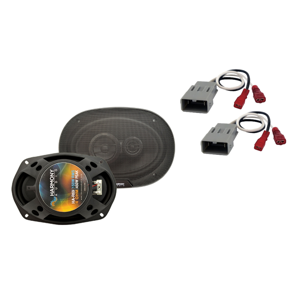 """Harmony Audio Bundle Compatible With 1996-2000 Honda Civic HA-R69 6x9"""" Replacement 450W Speakers And HA-727800 Speaker Replacement Harness"""