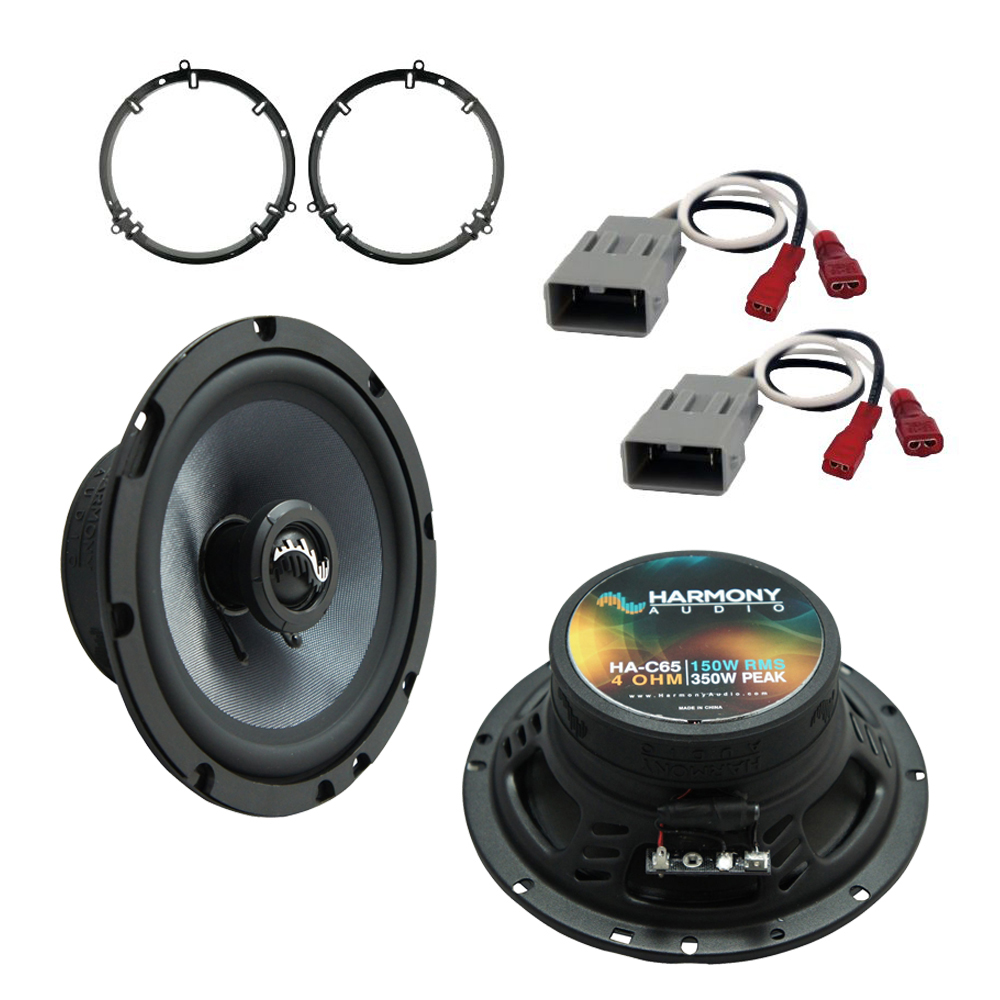 """Harmony Audio Compatible with 2001-2005 Honda Civic HA-C65 Front Door 6.5"""" Premium Replacement Speakers & Grills with HA-827803 5.25"""" 6.5"""" Adapter Kit, and HA-727800 Replacement Harness"""