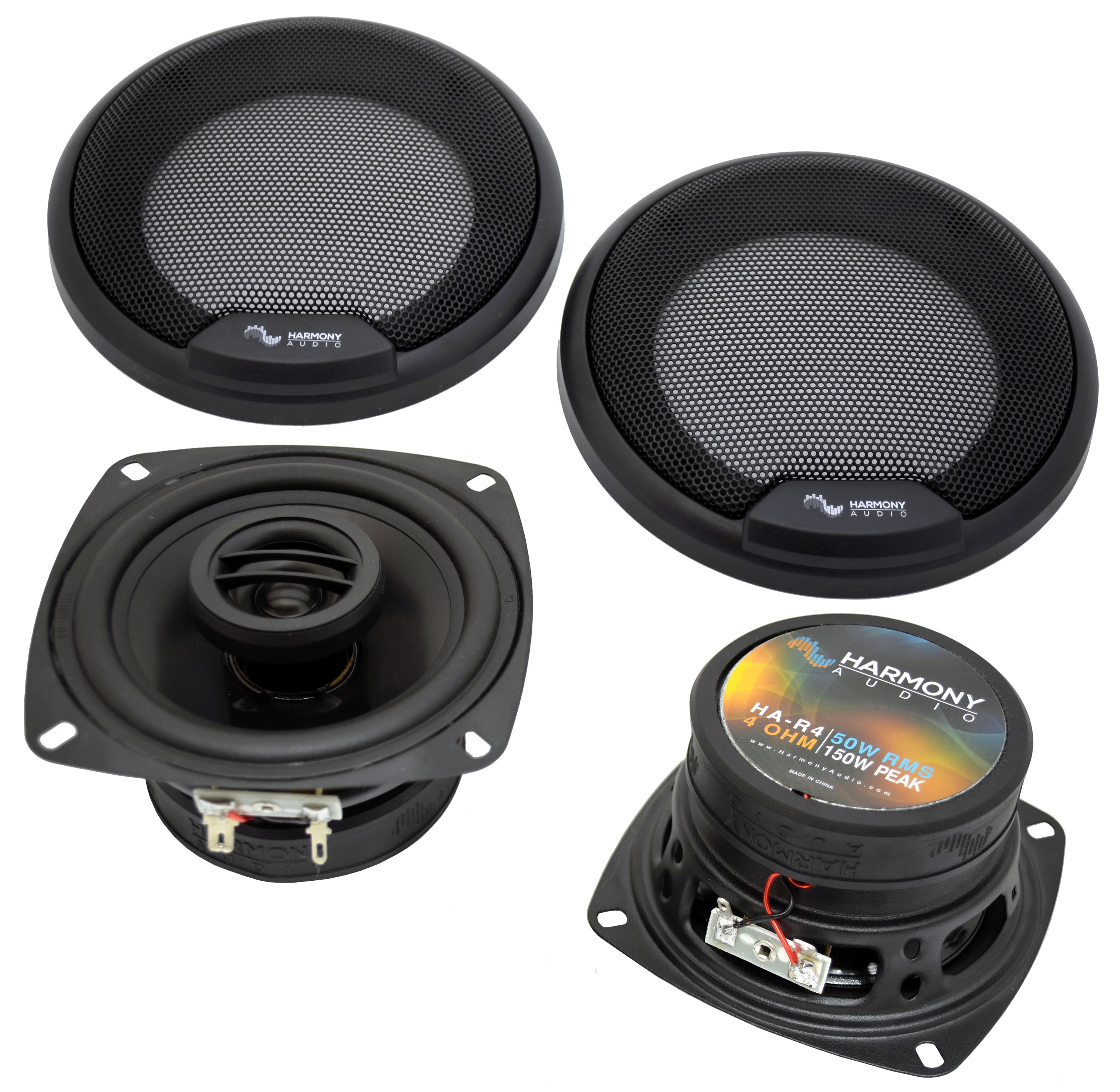 Harmony Audio Compatible With 2002-05 Hyundai Accent HA-R4 New Front Door Replacement Speaker Pair