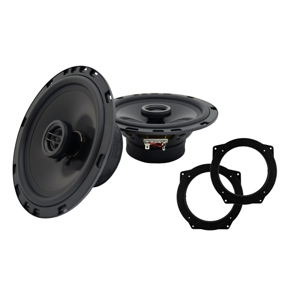 "Harmony Audio Bundle Compatible With 2002-2006 Mini Cooper HA-R65 Replacement 300W Speakers With HA-829302 6.5"" Speakers Adapter"