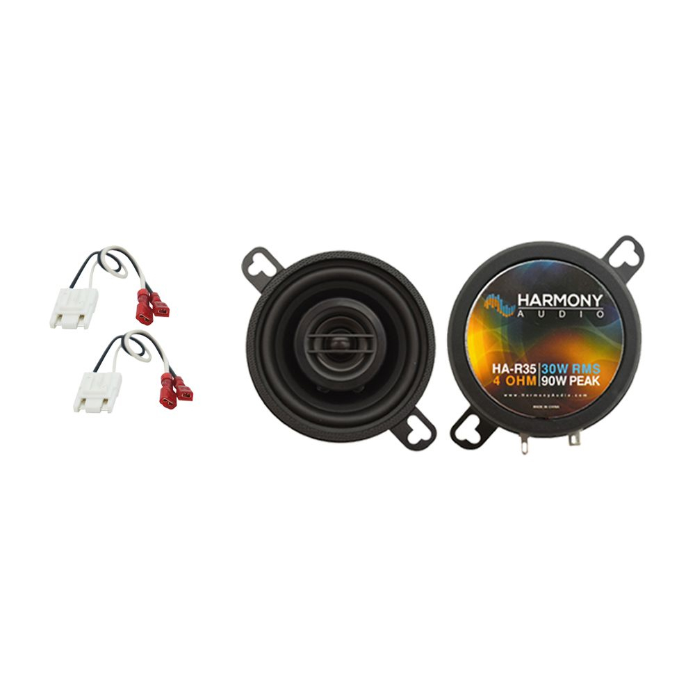 """Harmony Audio Bundle Compatible with 1973-1987 Chevy HA-R35 Blazer Front Dash Replacement 3.5"""" Replacement 90W Speakers And HA-724500 Factory Speaker Replacement Harness"""