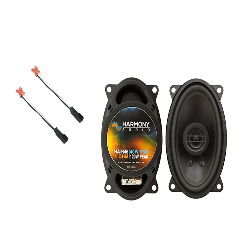 """Harmony Audio Bundle Compatible with 1995-2005 Chevy Cavalier HA-R46 4x6"""" Replacement 120W Speakers with HA-724570  Speaker Replacement Connector Harness Kit"""