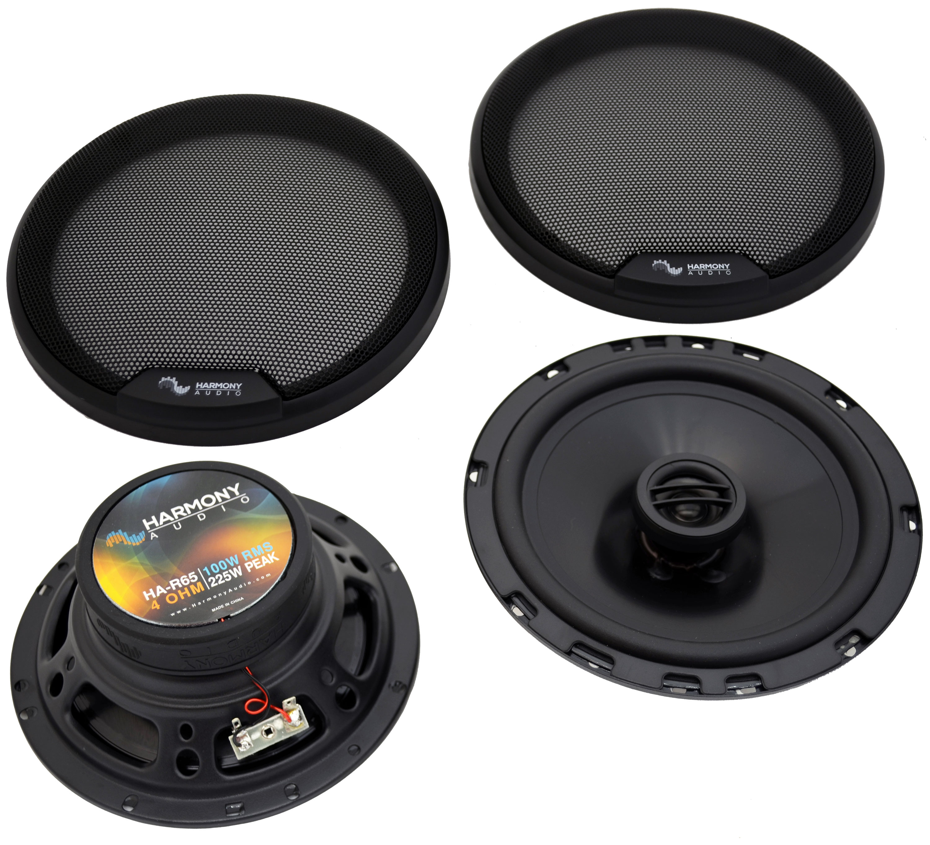 """Harmony Audio Compatible with 2002-2009 Chevy Trailblazer HA-R65 6.5"""" New Front Door Replacement 300W Speakers And HA-724568 Factory Speaker Replacement Harness"""