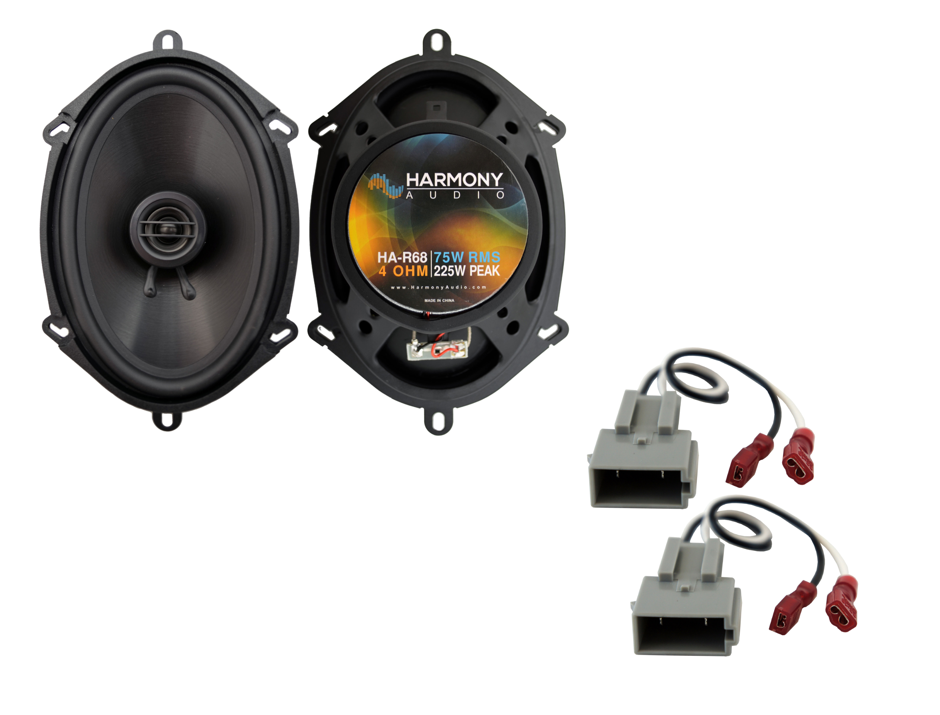 Harmony Audio Compatible with 1997-2013 Ford Econoline Full Size Van HA-R68 New Front Door Replacement 225W Speakers And HA-725512 Factory Speaker Replacement Harness