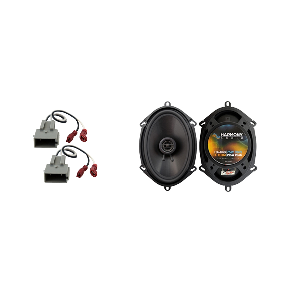 """Harmony Audio Compatible with 1997-2013 Ford Econoline Full Size Van HA-R68 Rear Side Panel HA-R68 5x7"""" 6x8"""" Replacement 225W Speakers, and HA-725512 Speaker Replacement Harness"""