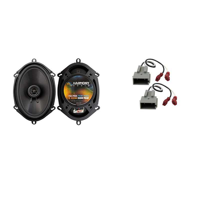 """Harmony Audio Compatible with 1997-1998 Ford Expedition HA-R68 Front Door 5x7"""" 6x8"""" Replacement 225W Speakers, and HA-725512 Speaker Replacement Harness"""