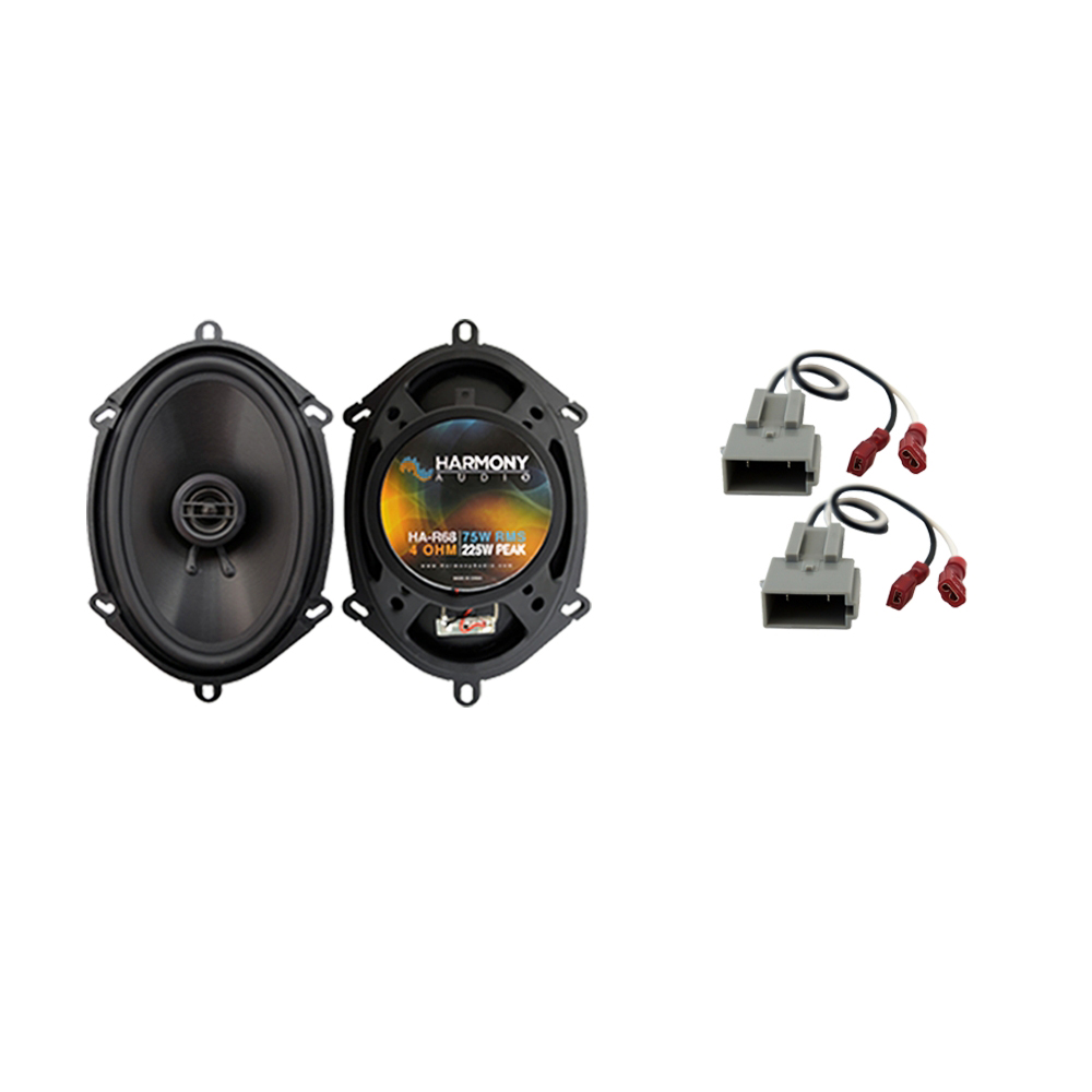 Harmony Audio Compatible with 1997-2003 Ford F-150 HA-R68 New Front Door Replacement 225W Speakers And HA-725512 Factory Speaker Replacement Harness