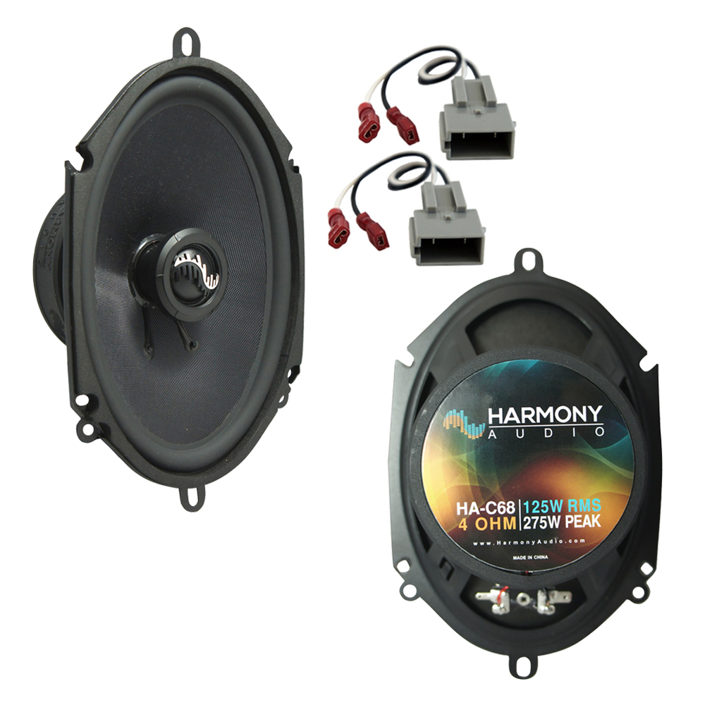 """Harmony Audio Bundle Compatible with 1997-2003 Ford F-150 HA-C68 Rear Door Replacement 5x7"""" 6x8"""" Replacement 275W Premium Speakers And HA-725512 Factory Speaker Replacement Harness"""