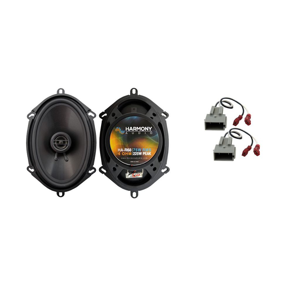 """Harmony Audio  Compatible with 1999-2004 Ford Mustang HA-R68  5x7"""" 6x8"""" Replacement 225W Speakers with HA-725512 Factory Speaker Replacement Harness"""