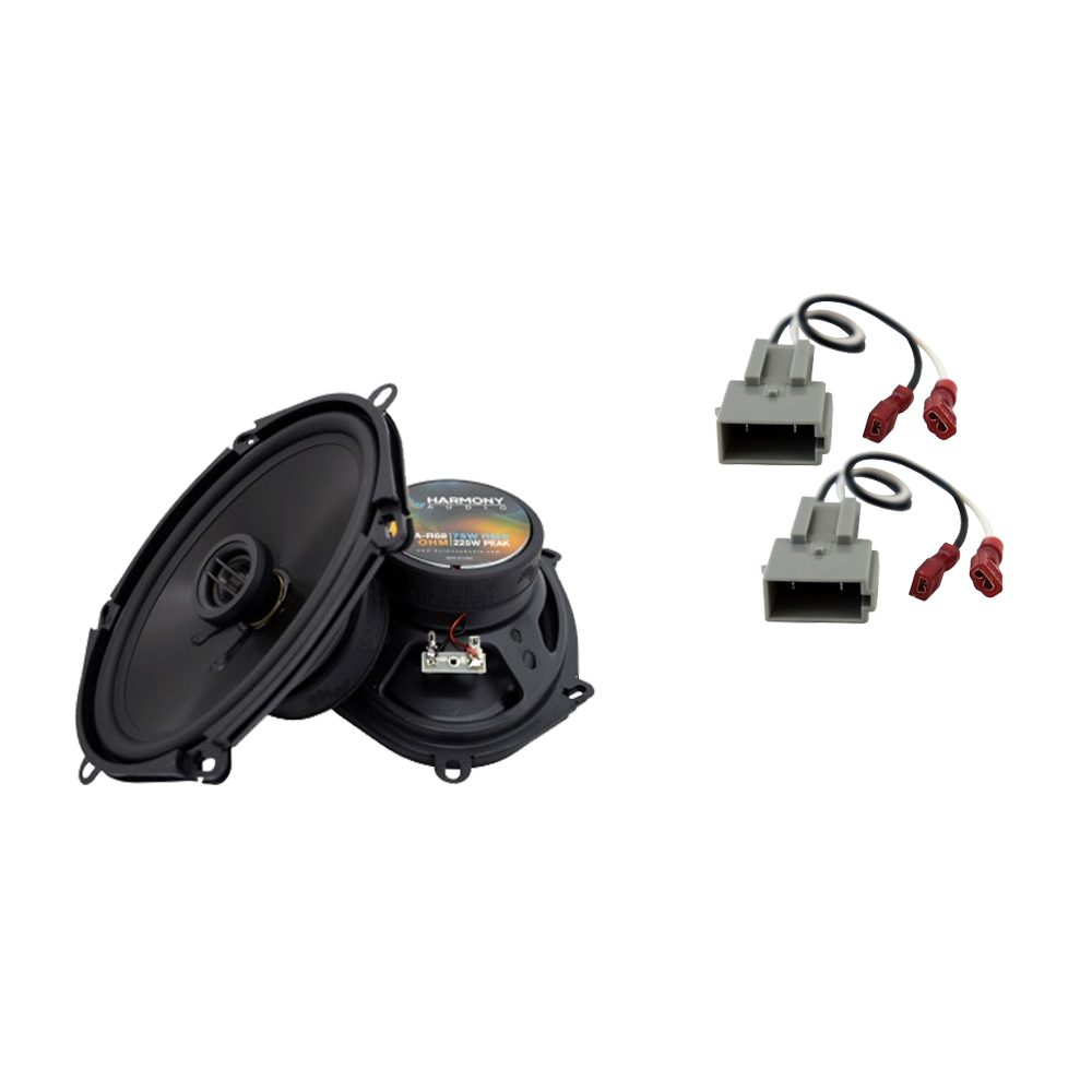 """Harmony Audio Bundle Compatible with 1994-1997 Ford Ranger HA-R68 5x7"""" 6x8"""" Replacement 225W Speakers with HA-725512 Factory Speaker Replacement Harness"""