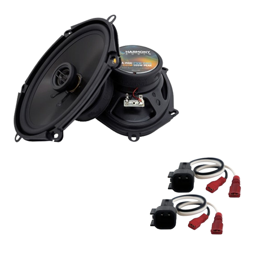 """Harmony Audio Bundle Compatible with 2000-2007 Ford Taurus Front Door HA-R68 5x7"""" 6x8"""" Replacement 225W Speakers With HA-725600 Speaker Replacement Harness"""
