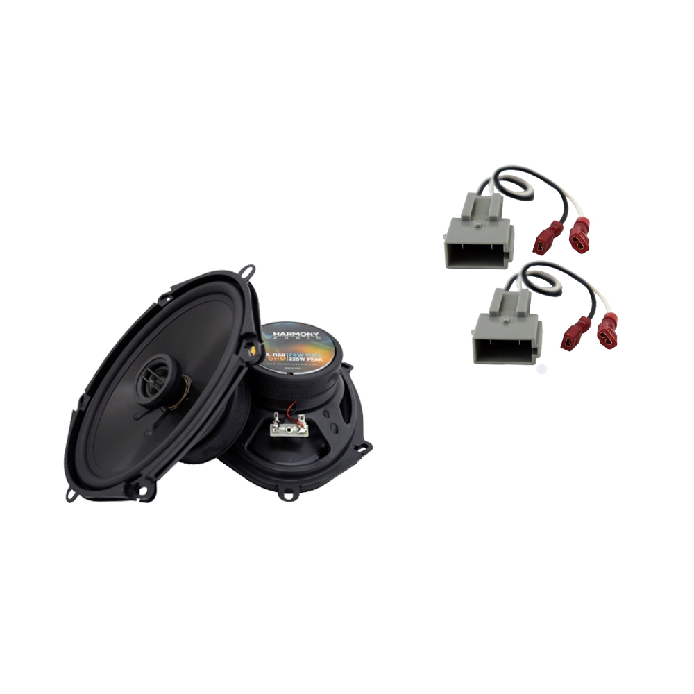 Harmony Audio Bundle Compatible with 1989-1997 Ford Thunderbird HA-R68 New Front Door Speaker Replacement Upgrade Package With HA-725512 Speaker Replacement Harness